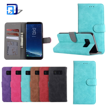 Scrub flip phone case solid color all-inclusive magnetic deduction wallet protector case for Samsung galaxy S8/S8plus