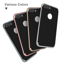 PC+TPU Heavy Duty Defender Slim Armor Shockproof Mobile Case Cover for iphone 7 7Plus Carbon Fiber Back Phone Case