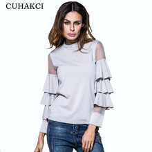 CUHAKCI Women's Fashion Cotton Round Neck Layering Flare Sleeve Black Mesh Charm Ladies Blouses