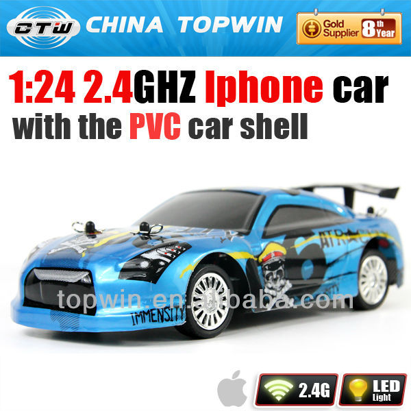 1:24 2.4GHZ I-phone controledsmall electric cars for sale with the PVC wooden toy car shell
