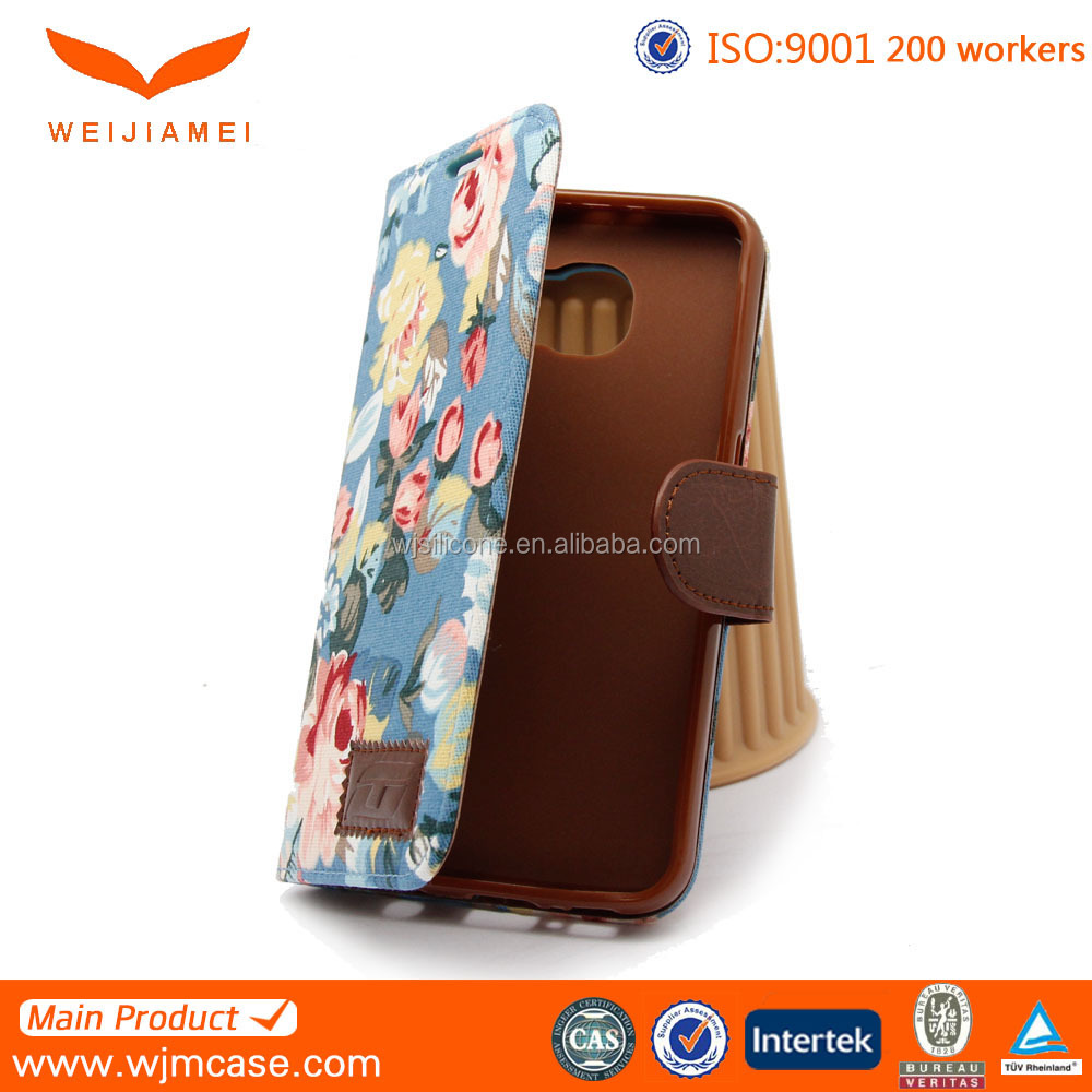 Protective Card Holder Flip Leather Handphone Covers for Samsung S6 Manufacturer