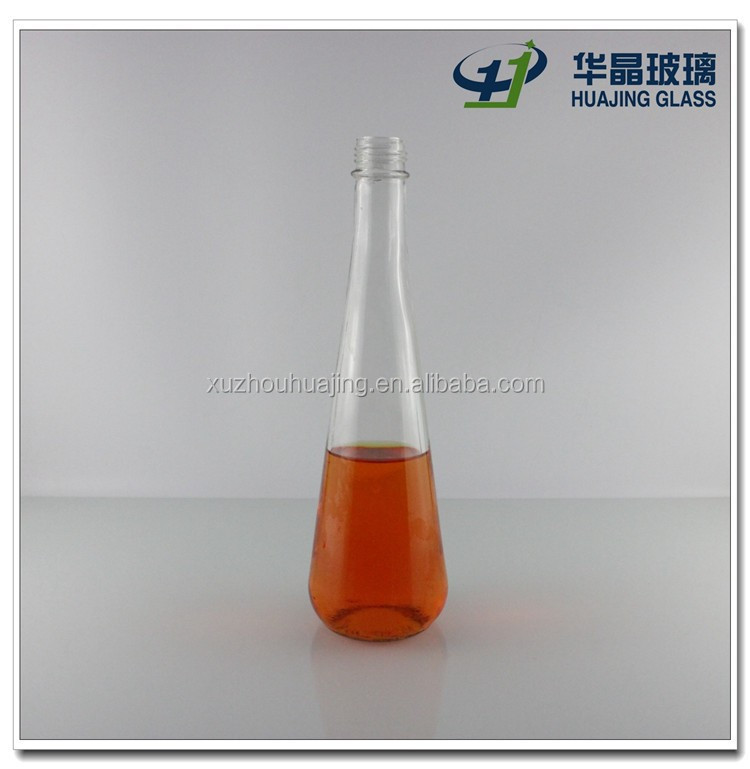 High quality 350ml long neck glass flask beverage bottle with screw cap wholesale