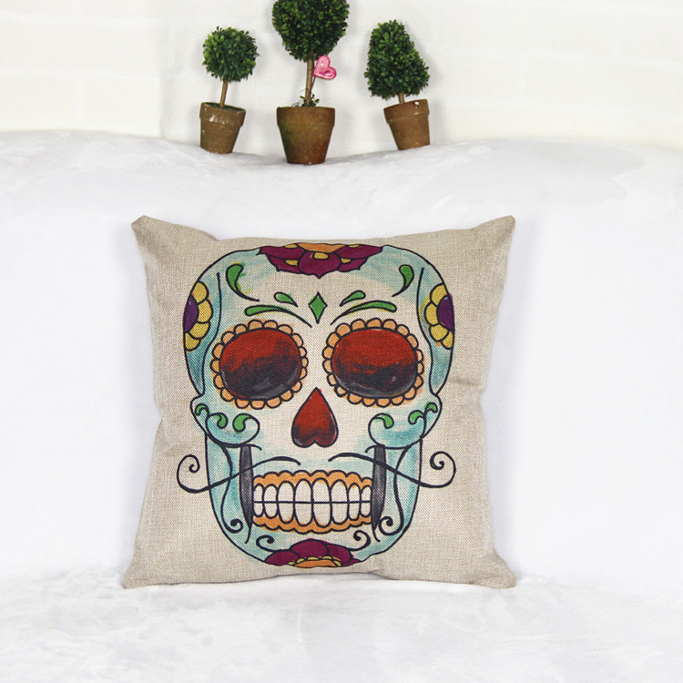 Cojines Mexican Skull Cushion Cover Pillow Case Halloween Day Of The Dead Home Decor Arts Personality Waist Hold