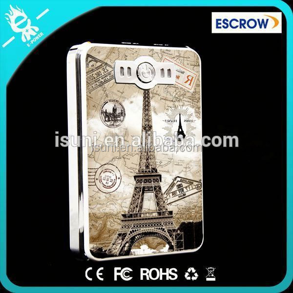 I Lover Paris Color Drawing Power Bank 5V 2.1A/1A Dual USB for mobile phone
