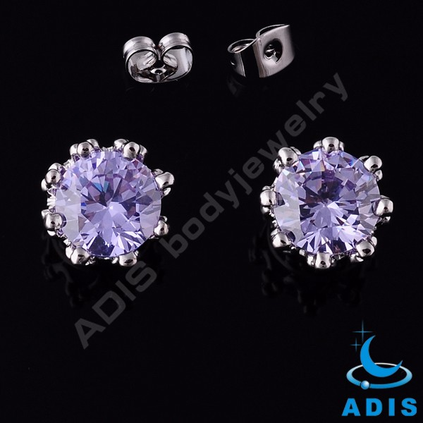 Hot selling crystal stainless steel earrings cute earring studs piercing for girls
