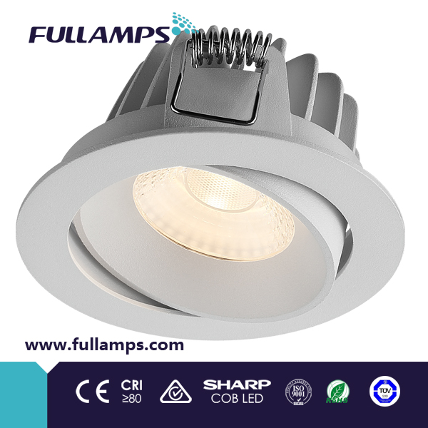 waterproof 10W adjustable led bathroom ceiling lights, 70-90lm/<strong>W</strong> COB led 30 degree <strong>beam</strong> angle
