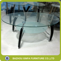 New Model Oval Round Glass Double Layer Sofa Side Table