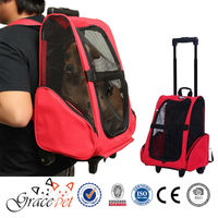 Pet Dog Cat Puppy Car SUV Travel Carrier Backpack With Rolling Casters