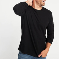 Wholesale Clothes Men Long Sleeve Plain Black T Shirt Direct from China Clothes Manufacturer
