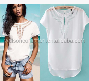 Instyles Ladies Blouses & Tops short womens clothing 2015 Wholesale Clothing clothes Hollow out Chiffon t shirt