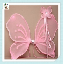 Cheap Princess Party Pink Kids Butterfly Wings with Wand HPC-0893