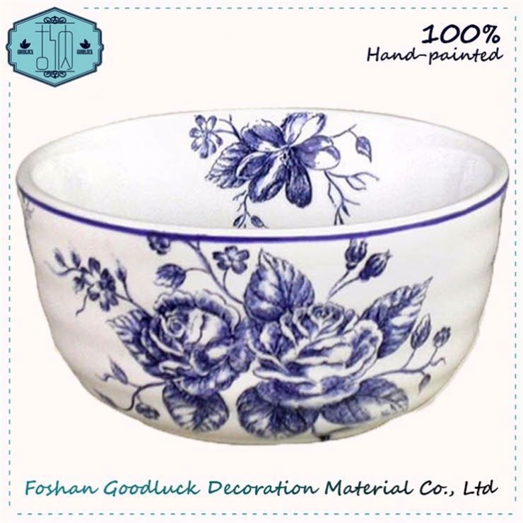Food Safety Pottery Blue Color 6 Inch Soup Bowl Function Rose Bowl Of