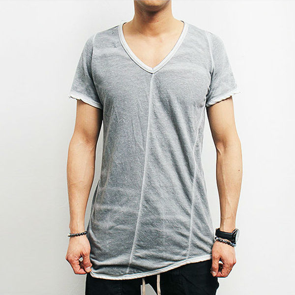 Washing Gray Short Sleeve Vintage T Shirt Plain