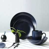 ceramic stoneware dinner table set black matte color mug bowl sala plate and dinner plate