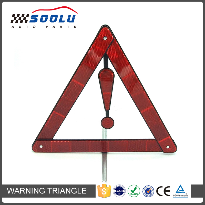 Car Traffic Reflecting Red Warning Triangle With Metal Stand