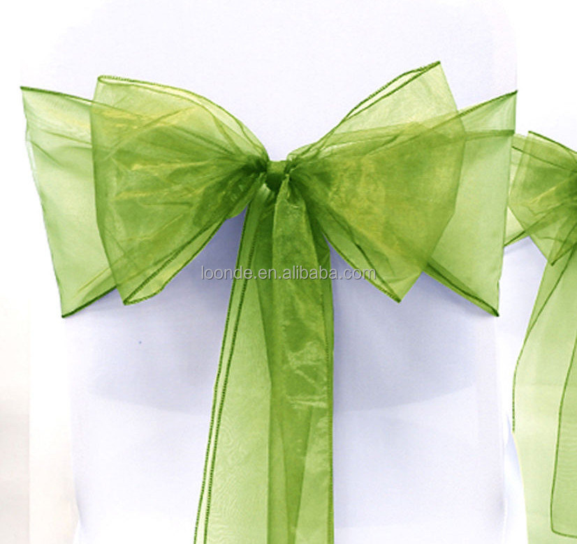 Wedding Bows cheap green Organza Chair Sashes