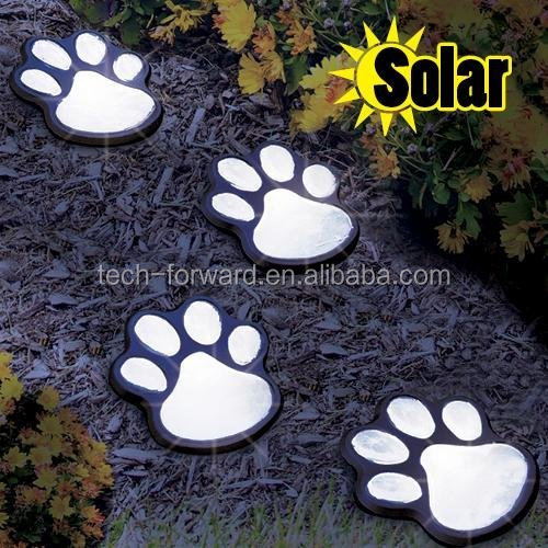 Paw Print Solar Garden Lights With 4 Solar Powered LED Lights