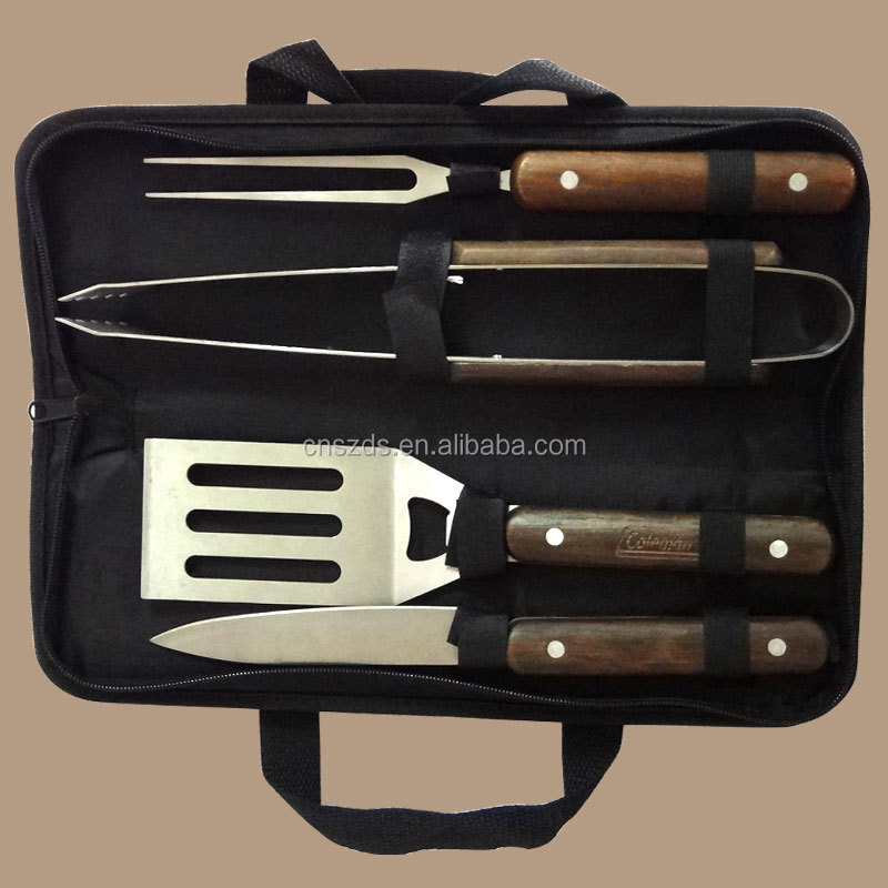4 pcs wooden handle BBQ tool set with bag packing BBQ tool set