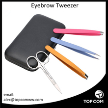 Professional Stainless Steel Eyebrows Tweezer Set, Slant Flat Pointed Tip Precision Tweezers+ Curved Brow Scissors