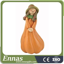 Polyresin pumpkin girl of autumn crafts for kids
