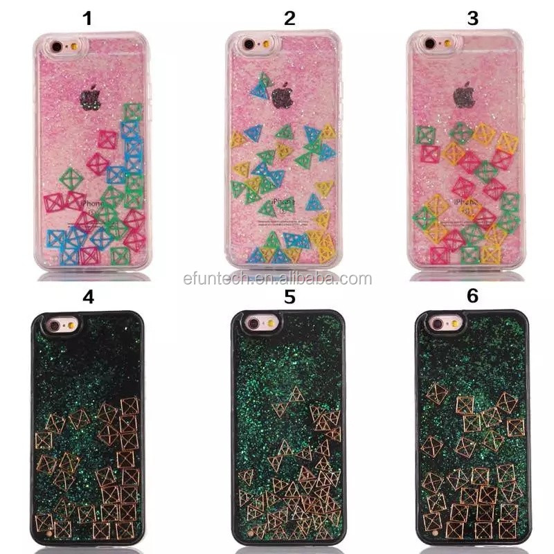 Cheap plastic glitter small squares funny mobile phone case for iphone 6P 6sP 6 6s cover