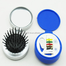 wholesale high quality mini plastic travel sewing tool kit comb and brush nail polished knit customized logo