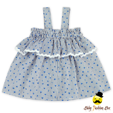 48BQA242 Fancy Small Flower blue Print Top Style Dress Latest Party Wear Dresses For Girls Kids Party Wear Dresses For Girls