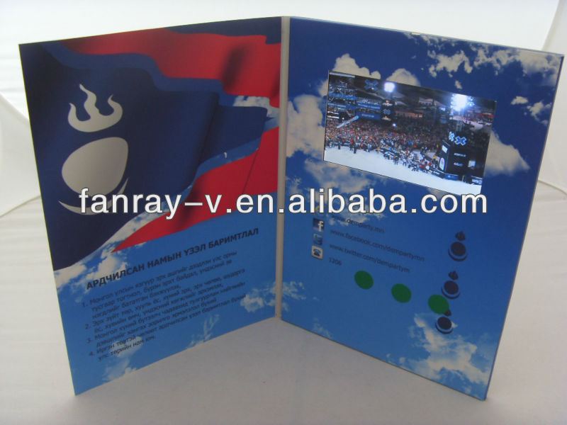 "4.3"" lcd invitation lcd video greeting brochure card for promotional gift"