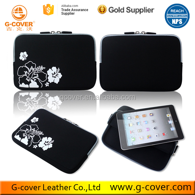Slik screen printed Flower Shockproof bag for 8 inch Tablet Case
