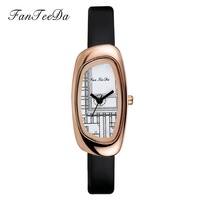 FanTeeDa Brand 2017 Luxury Fashion Watch Women Leather Wristwatch Top Business Lady Dress Stainless Steel Watches Ladies