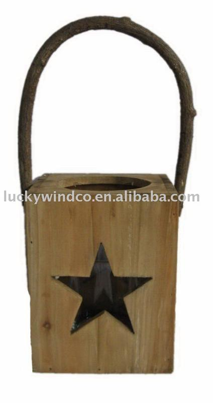 primitive wooden shabby chic star cut out christmas lantern