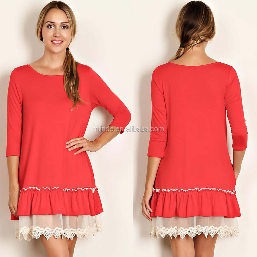 Fashion Boutique Dress Solid Jersey Knit Scoop Neck 3/4 Sleeves Coral Short Lace Crochet Layring Dress With Scallop Lace Trim