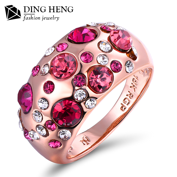 Latest Fashion Party Gift Rose Gold Plating Bling Bling Multi Colorful Pave Crystal Ring For Women