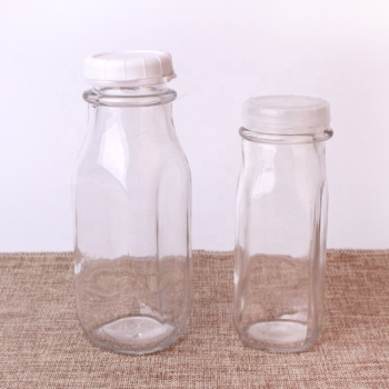 Factory custom 350ml 12oz square empty clear glass bottle milk