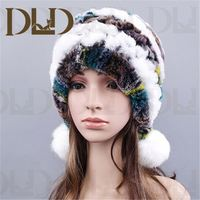 Winter Rabbit Fur Beanie Hat With Top Ball