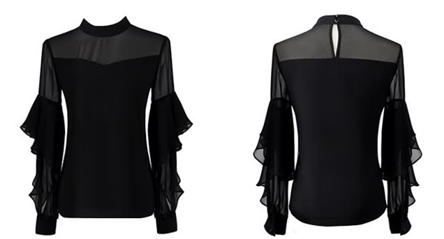 Chic summer sexy flouncing long sleeve round neck chiffon see-through blouses top China garment factory