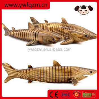 Custom Wooden miniature wood crafts vivid shark