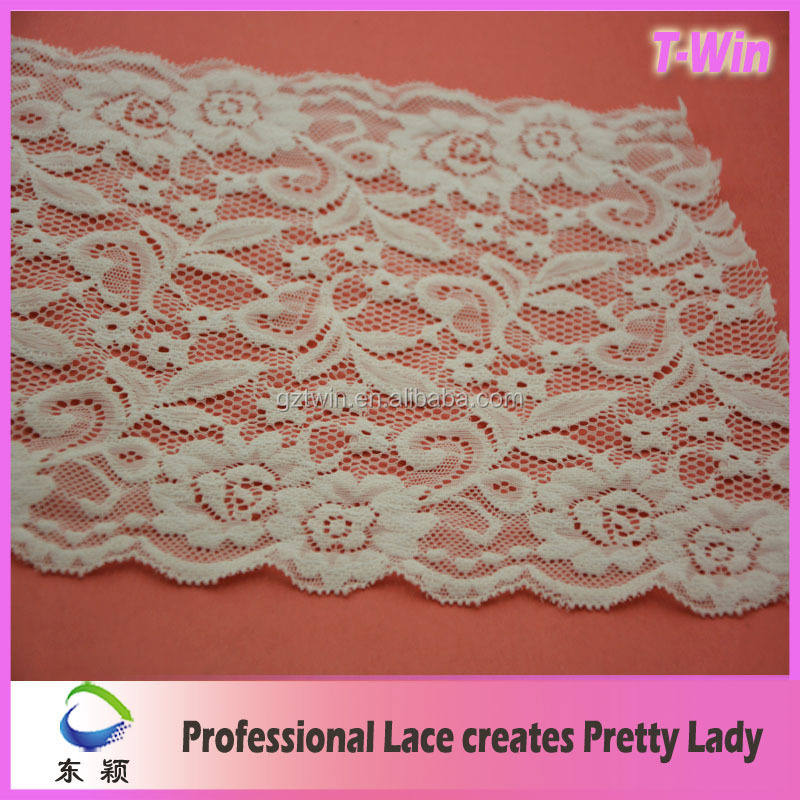 2016 Lasted Wholesale bridal lace by the yard wide stretch lace trim