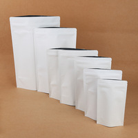 Custom Printed White Doypack Food Pouches Zip Lock Coffee Snack Packaging Bags