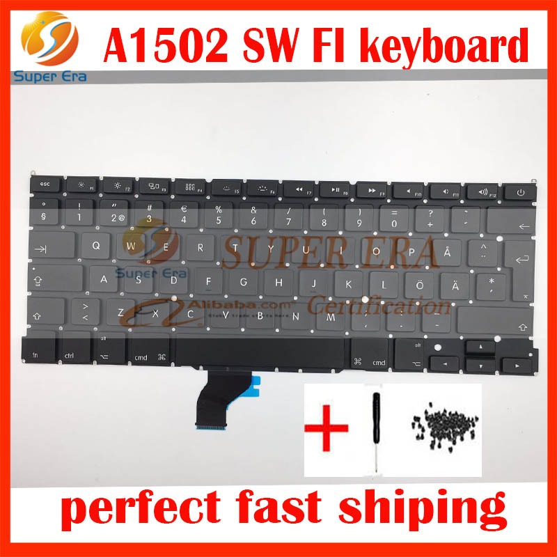SD SW FI keyboard without backlight backlit for macbook pro 13'' retina A1502 Swedish Finnish Sweden Finland keyboard 2013-2015