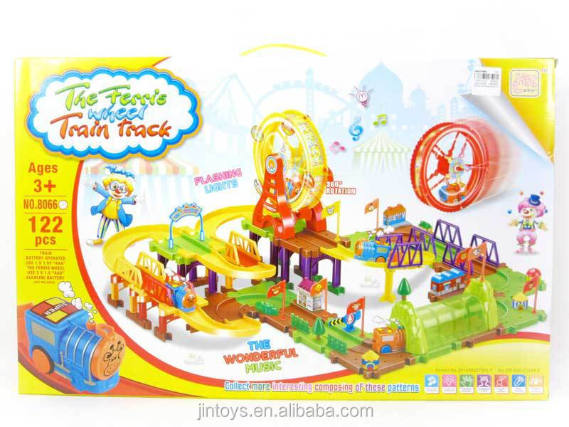 Ferris wheel battery operated blocks orbit train with light and music toy train