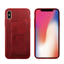 Card Slot Phone Case For iPhone X, PU Leather Cell Phone Back Cover For iPhone X