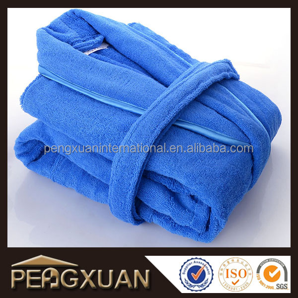 Custom Winter Heated Women Bathrobe Kimono Collar Blue Bath Robe
