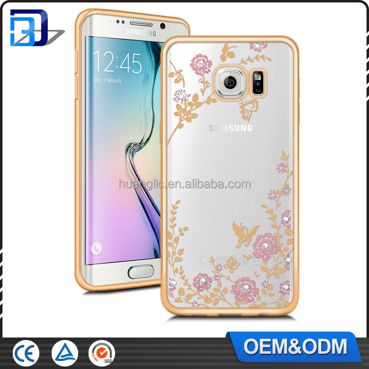 Factory supply custom laser engraved electroplating transparent tpu mobile phone case with rhinestone for samsung S6 edge