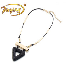 wholesale price hot selling triangle shape pendant black natural stone necklace