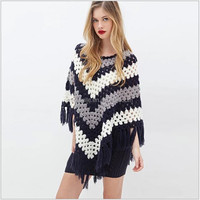 S31140A Womens clothing fall 2015 Bohemia style shwal loose tassels knitted sweater cloak