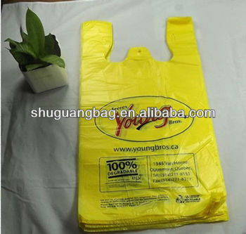 plastic Biodegradable HDPE material t-shirt plastic bag