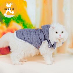 Grey warm dog and cat denim jacket pet winter coat