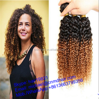 24 inch indian two tone ombre colored jerry curly remy curl human hair weave