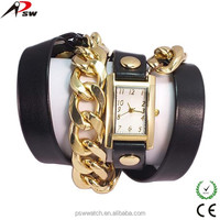 beautiful long chain ladies leather watch